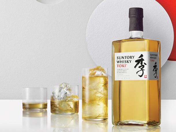 Suntory Whisky Toki Bottle with various glasses