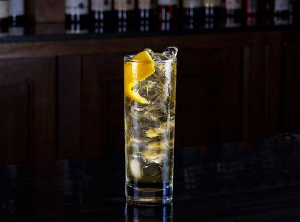 Highball glass of whisky soda