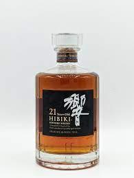 Close-up of Hibiki 21 bottle with white backrgound