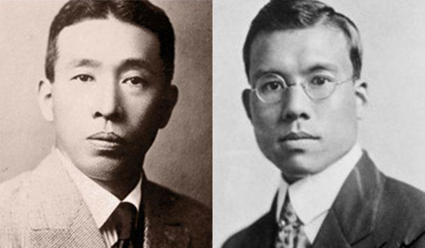 Side by side photos of Shinjiro Torii and Masataka Taketsuru