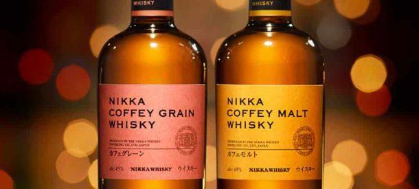 Close-up of Nikka Coffey Grain and Coffey Malt whisky bottles