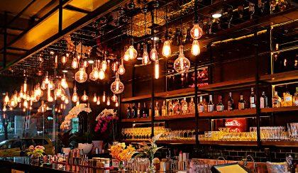 Lightbulbs at a bar