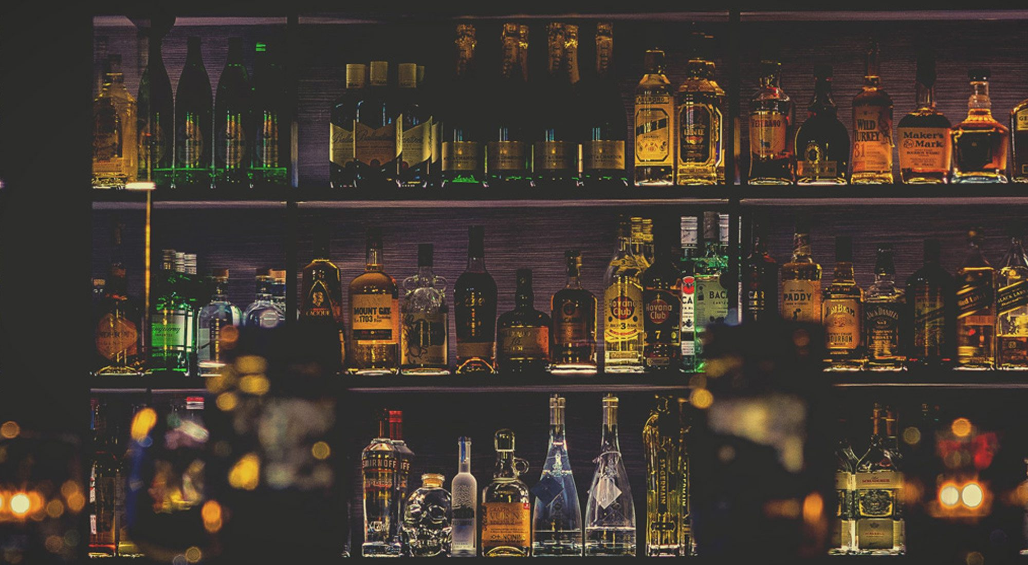 Bar with many bottles