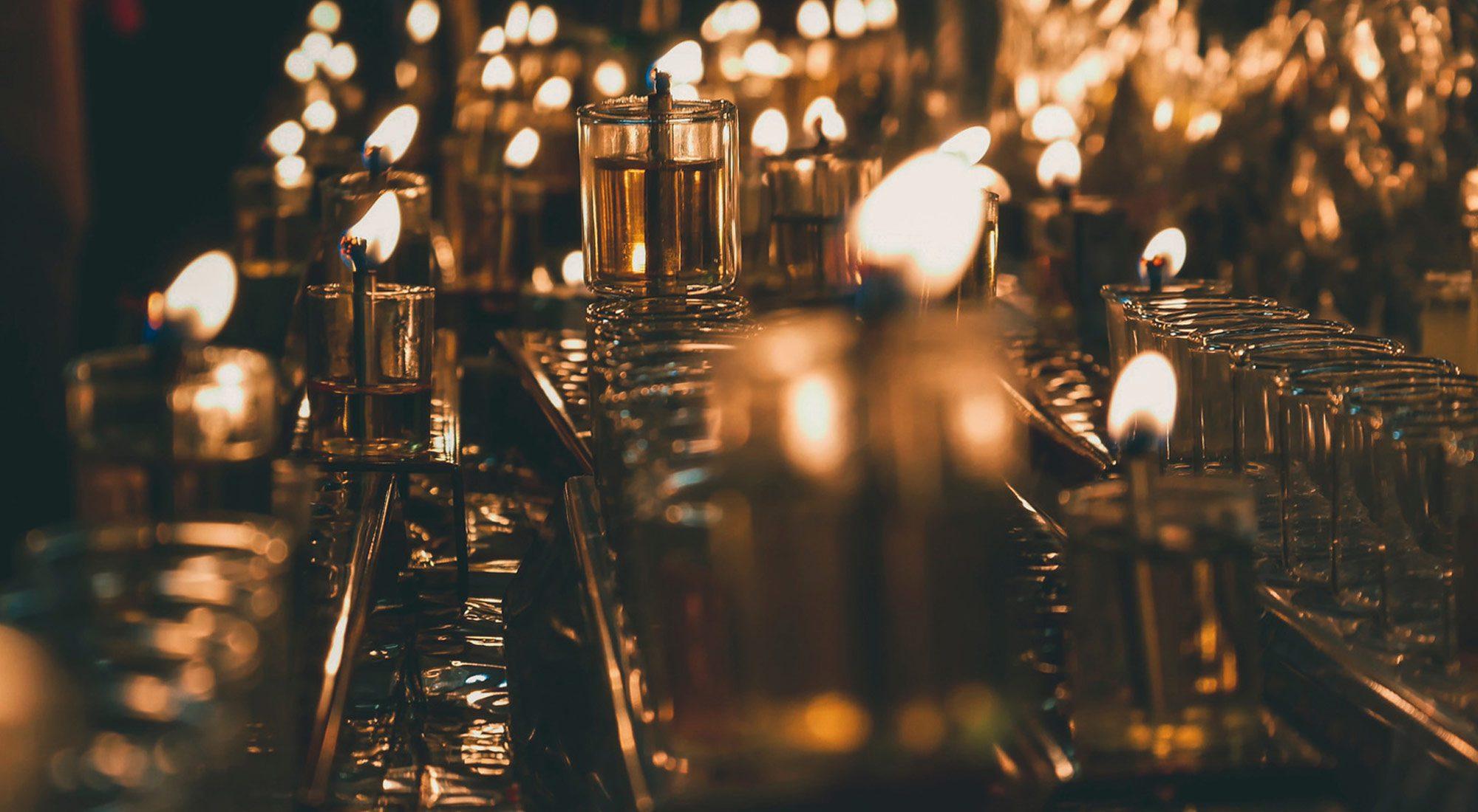 Candle-lit bar
