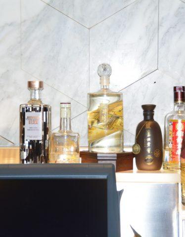 Bottles of Baijiu on shelf