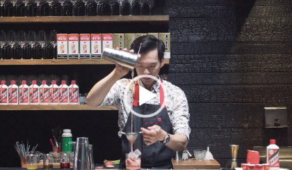 Moutai cocktail being made.
