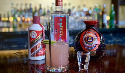 Baijiu bottles on bar top.