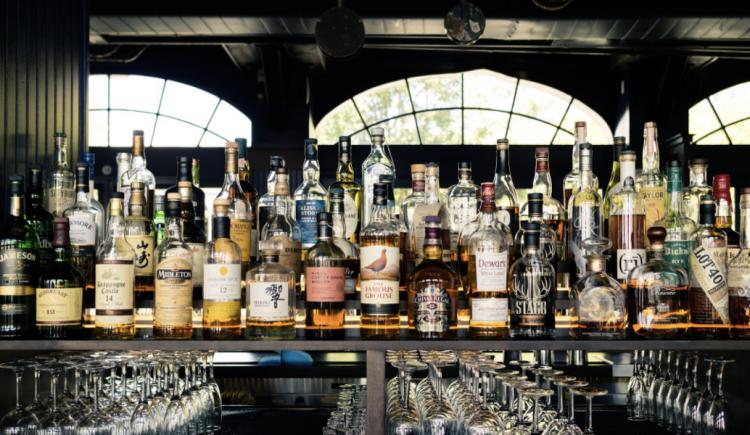 Japanese whiskies on the bar